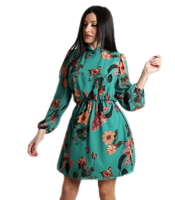 Φόρεμα εμπριμέ με δέσιμο στο λαιμό (Πράσινο)