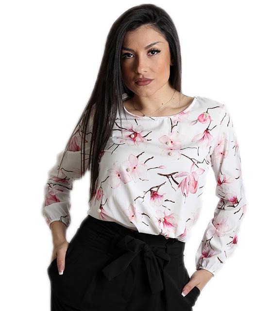 Σατέν μπλούζα φλοράλ με πέρλες (Λευκό)