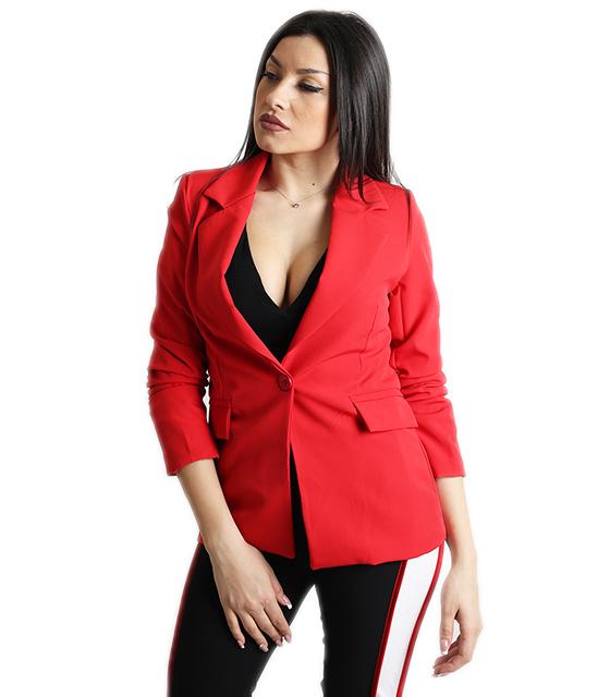 Σακάκι με σούρα στο μανίκι και ρελιαστές τσέπες (Κόκκινο)