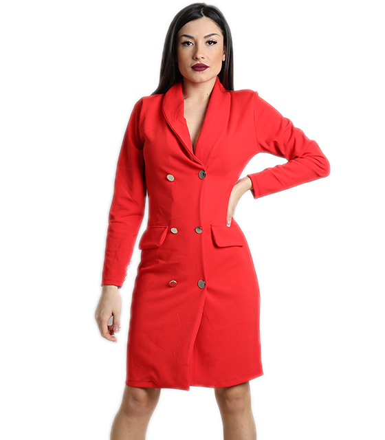 Κόκκινο φόρεμα με γιακά, κουμπιά και ρελιαστές τσέπες