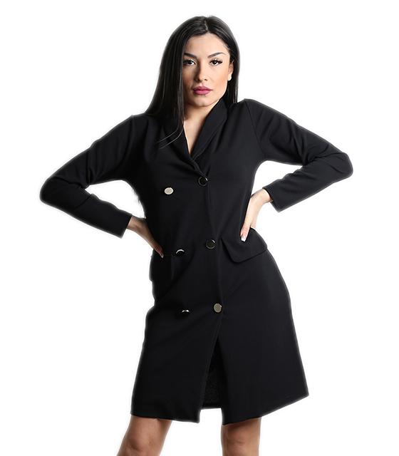Μαύρο φόρεμα με γιακά, κουμπιά και ρελιαστές τσέπες