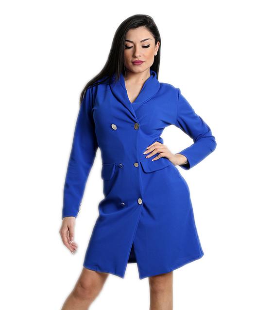 Μπλε φόρεμα με γιακά, κουμπιά και ρελιαστές τσέπες