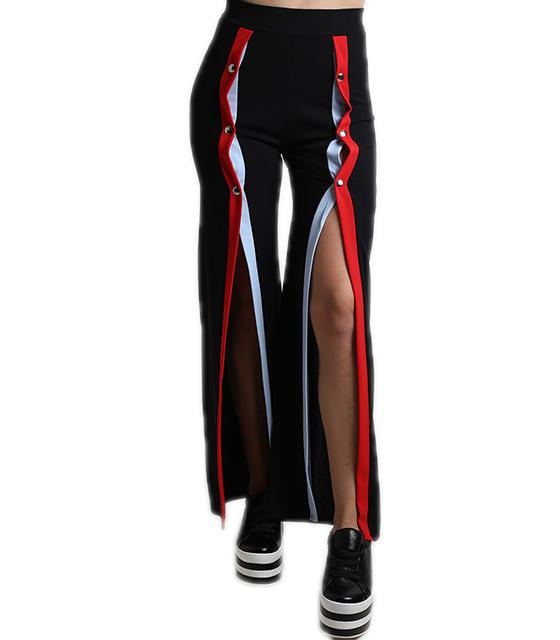 Μαύρη ψηλόμεση παντελόνα με κουμπιά και ρίγα στην μέση
