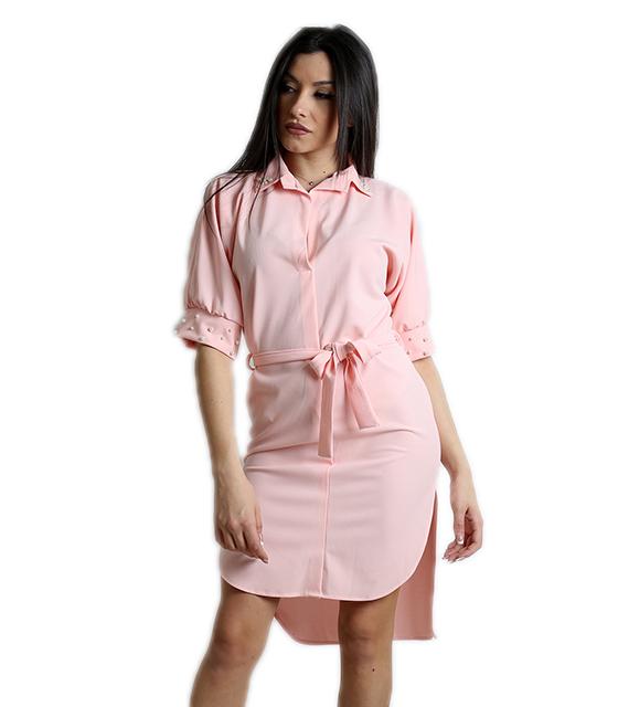 Ροζ φόρεμα με πέρλες και ζώνη