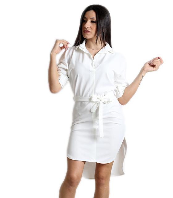 Λευκό φόρεμα με πέρλες και ζώνη