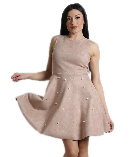 Σουέτ φόρεμα με πέρλες και κρυφό φερμουάρ (Μπεζ)