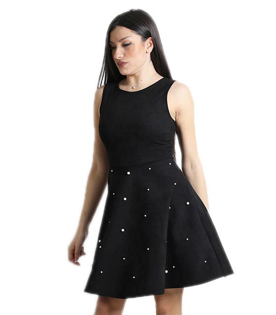 Σουέτ φόρεμα με πέρλες και κρυφό φερμουάρ (Μαύρο)