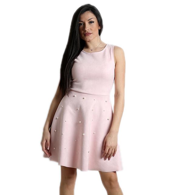 Σουέτ φόρεμα με πέρλες και κρυφό φερμουάρ (Ροζ)