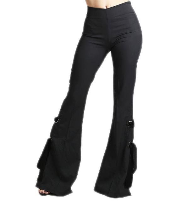 Ψηλόμεσο παντελόνι καμπάνα με δεσίματα και κρυφό φερμουάρ στο πλάι (Μαύρο)