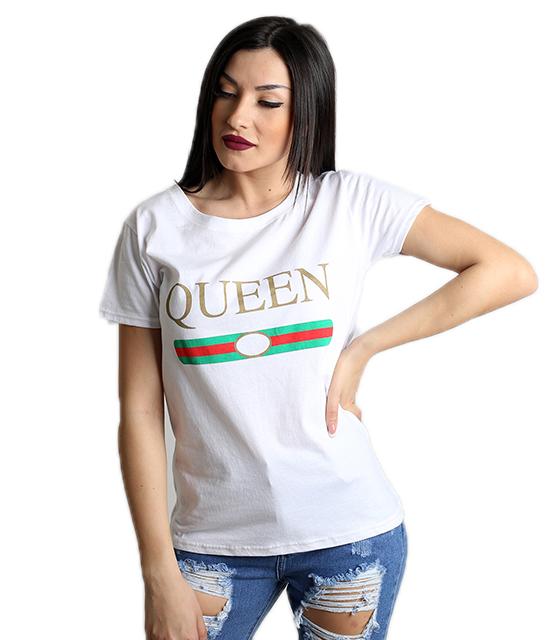 Κοντομάνικη λευκή μπλούζα με τύπωμα ''QUEEN''