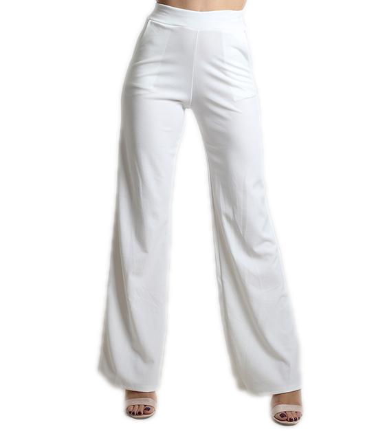 Ψηλόμεση λευκή παντελόνα με τσέπες και λάστιχο