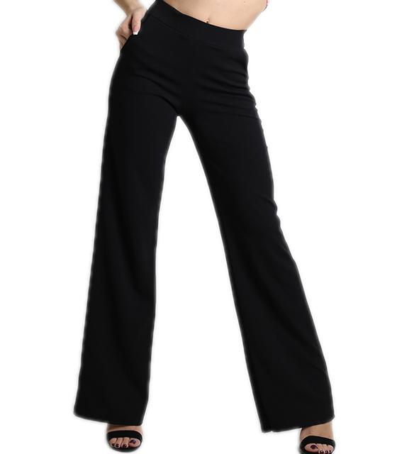 Ψηλόμεση μαύρη παντελόνα με τσέπες και λάστιχο