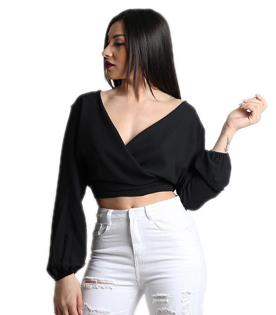 Κρουαζέ τοπ με δέσιμο στην πλάτη (Μαύρο) ρούχα   μπλούζες   top   τοπάκια   μπουστάκια