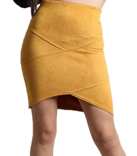 Μουσταρδί φούστα σουέτ με ασύμμετρο τελείωμα