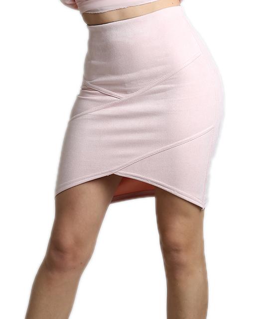 Ροζ φούστα σουέτ με ασύμμετρο τελείωμα
