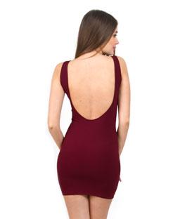Shoulder Strap Mini Bodycon Dress with scoop back (Burgundy)
