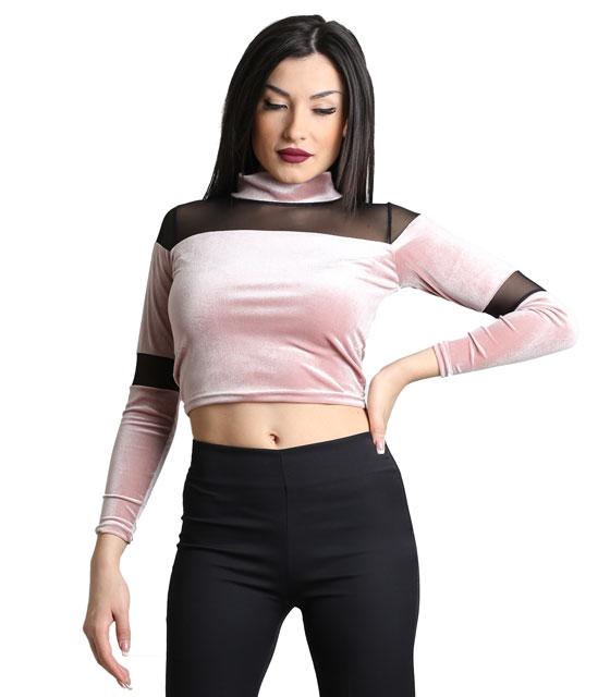 Ροζ μπλούζα βελούδινη με λεπτομέρεια διαφάνεια