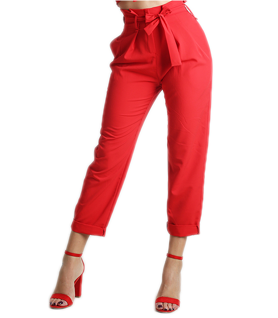 Ψηλόμεσο παντελόνι με ζώνη (Κόκκινο)