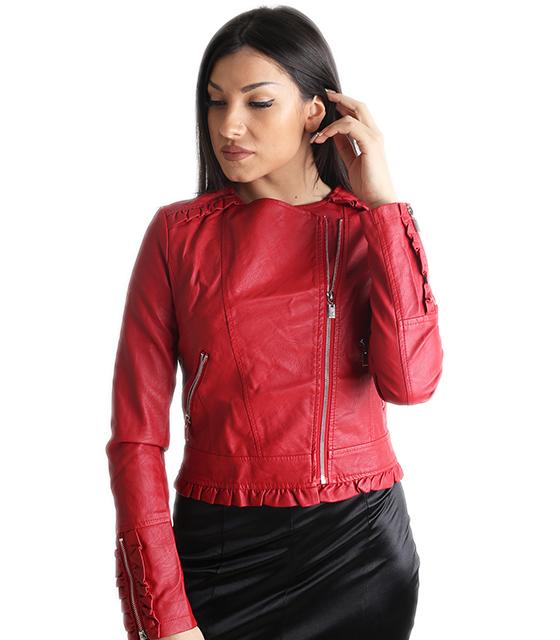 Κόκκινο jacket δερματίνη με ασημί φερμουάρ