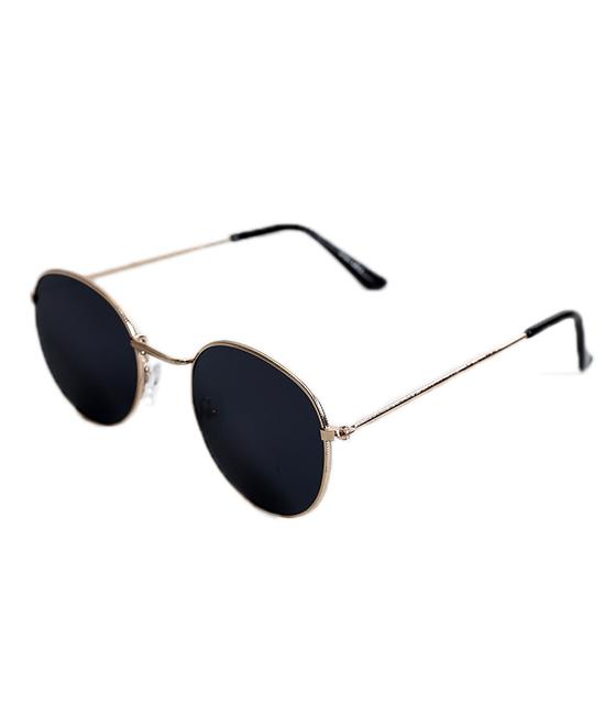 Οβάλ μεταλλικά γυαλιά με χρυσούς μεταλλικούς βραχίωνες (Μαύρο)