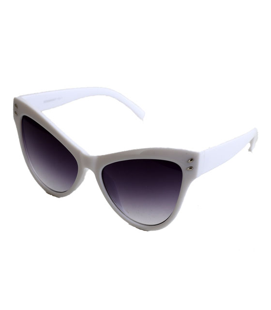 Cat-Eye κοκκάλινα γυαλιά με κοκκάλινους βραχίωνες (Λευκό)