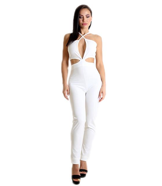 0001b0f7029 Ολόσωμη φόρμα με κοψίματα και ανοιχτή πλάτη (Λευκή)