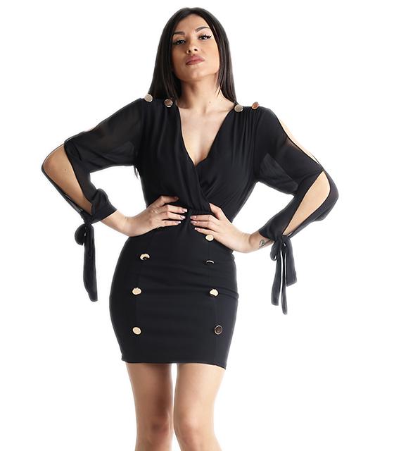 Κρουαζέ φόρεμα με δέσιμο στα μανίκια και κουμπιά (Μαύρο)