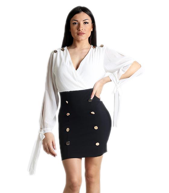 Κρουαζέ φόρεμα με δέσιμο στα μανίκια και κουμπιά (Λευκό)