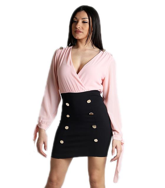 Κρουαζέ φόρεμα με δέσιμο στα μανίκια και κουμπιά (Ροζ)