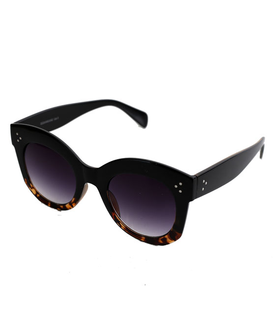 Τετράγωνα κοκκάλινα γυαλιά με κοκκάλλινους βραχίωνες (Μαύρο)