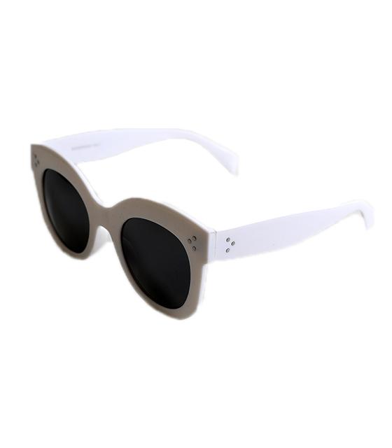 Τετράγωνα κοκκάλινα γυαλιά με κοκκάλλινους βραχίωνες (Λευκό)