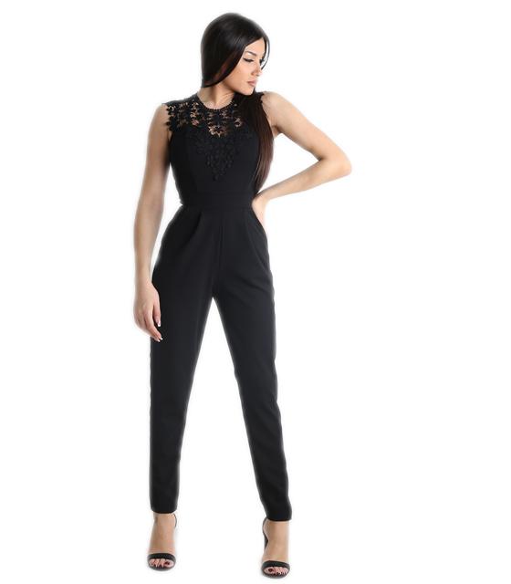 Ολόσωμη φόρμα με δαντέλα και επένδυση (Μαύρο) ρούχα   ολόσωμες φόρμες