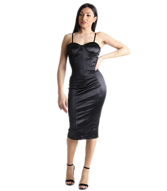 Σατέν φόρεμα midi με ρυθμιζόμενες τιράντες και επένδυση (Μαύρο)
