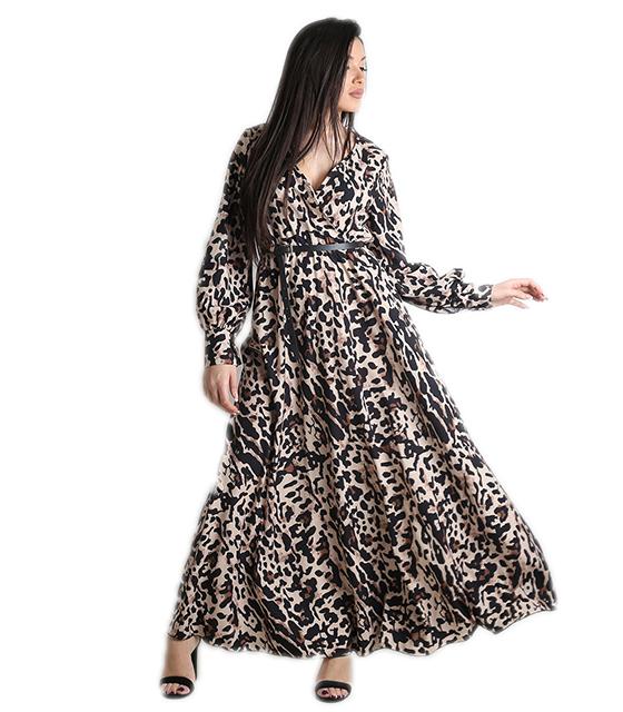 Μάξι φόρεμα κρουαζέ με σούρα στην μέση (Λεοπάρ)