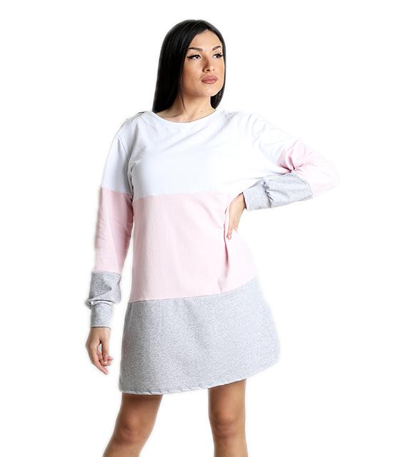 Φούτερ φόρεμα πολύχρωμο με δέσιμο στην πλάτη