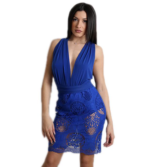 Πολυμορφικό φόρεμα με δαντέλα (Μπλε) ρούχα   φορέματα
