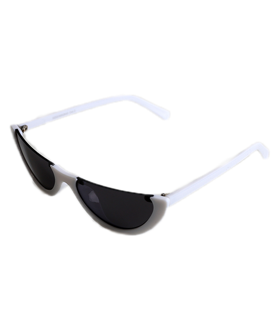 Λευκά Cat-Eye γυαλιά ηλίου με μαύρο φακό