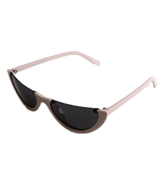 Μπεζ Cat-Eye γυαλιά ηλίου με μαύρο φακό