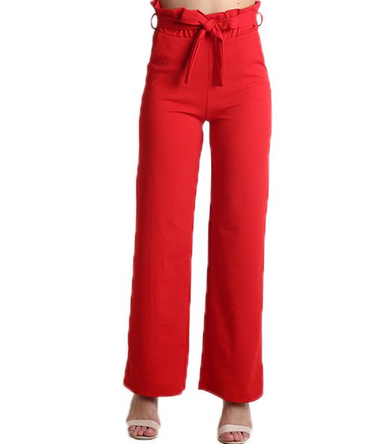 Ψηλόμεση παντελόνα με λάστιχο και ζώνη (Κόκκινο)