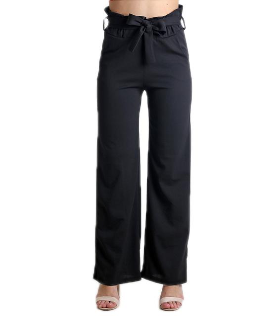 Ψηλόμεση παντελόνα με λάστιχο και ζώνη (Μαύρο)