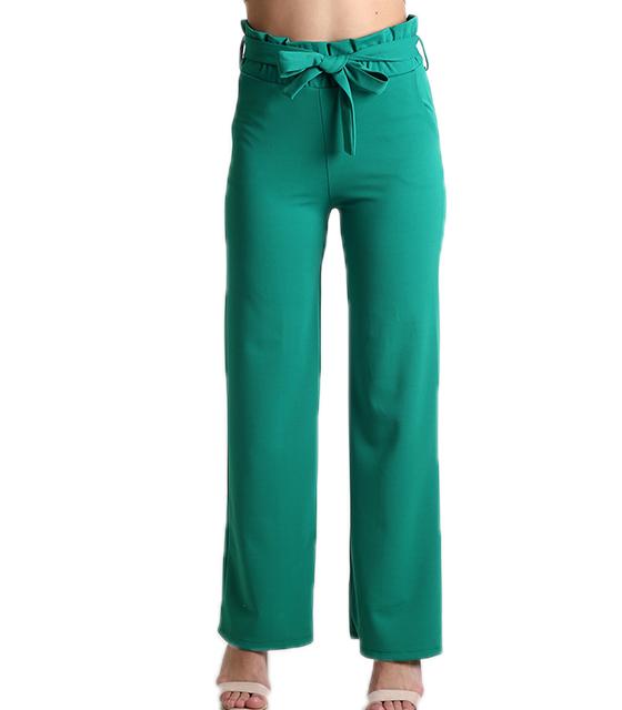 Ψηλόμεση παντελόνα με λάστιχο και ζώνη (Πράσινο)