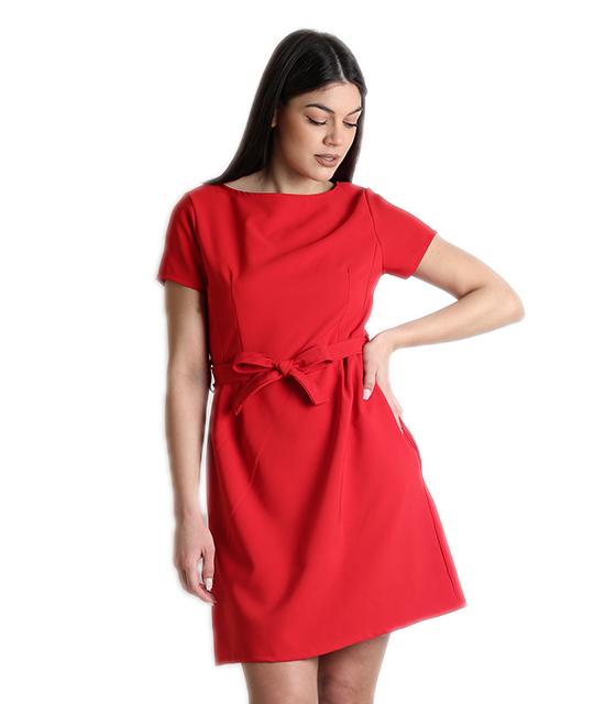 Κόκκινο φόρεμα με κρυφό φερμουάρ και ζώνη