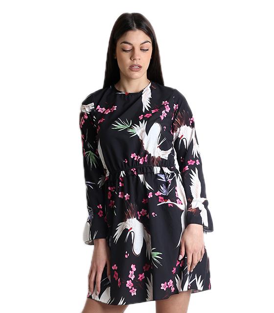 Φλοράλ φόρεμα με δέσιμο και ανοιχτή πλάτη (Μαύρο)