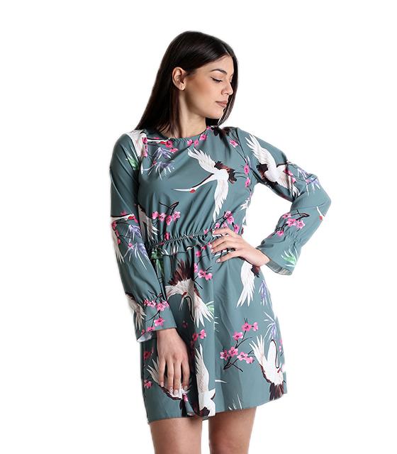 Φλοράλ φόρεμα με δέσιμο και ανοιχτή πλάτη (Βεραμάν)