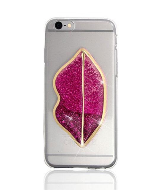 Θήκη TPU liquid glitter 3D Lips για iPhone 6/6S αξεσουάρ   αξεσουάρ κινητού