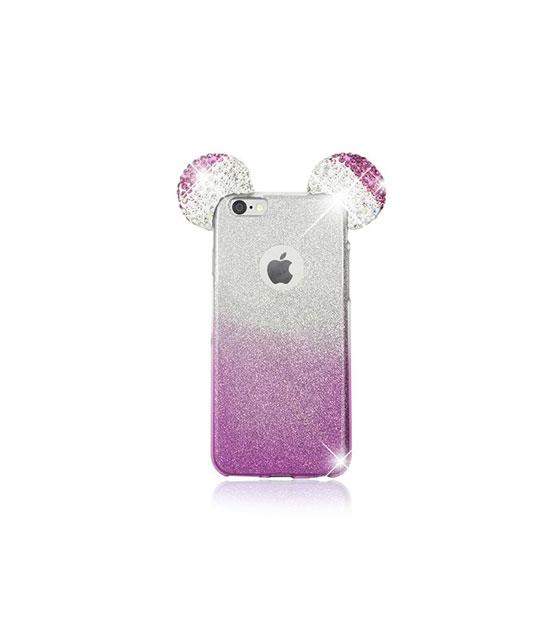"""Θήκη TPU 3D Mouse Ears Strass με εσωτερική αποσπώμενη πλάτη glitter για iPhone 6/6S (4.7"""") - Ροζ/Ασημί"""
