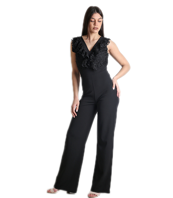 Ολόσωμη φόρμα με δαντέλα και δέσιμο στην πλάτη (Μαύρο) ρούχα   ολόσωμες φόρμες
