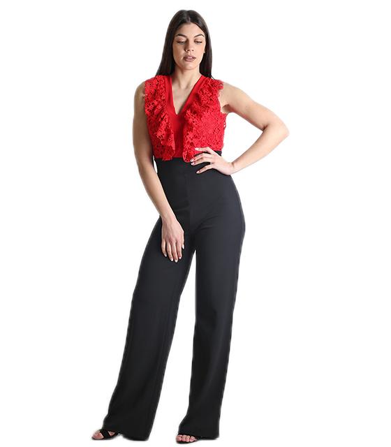 Ολόσωμη φόρμα με δαντέλα και δέσιμο στην πλάτη (Κόκκινο) ρούχα   ολόσωμες φόρμες