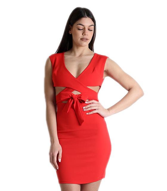 Κόκκινο φόρεμα χιαστή με φιόγκο μπροστά
