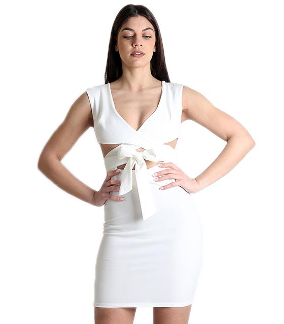 Λευκό φόρεμα χιαστή με φιόγκο μπροστά